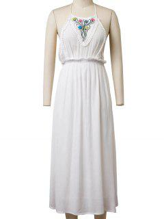 Backless Halter Floral Embroidery Maxi Dress - White S
