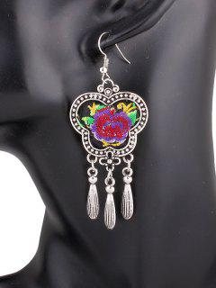 Flower Embroidery Fringe Earrings - Purple
