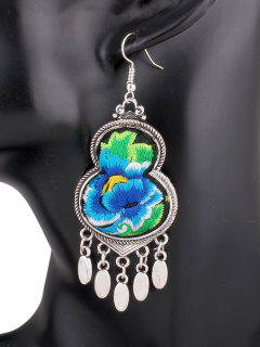 Flower Embroidery Gourd Earrings - Blue