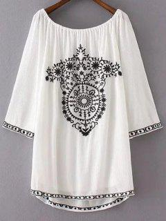Long Sleeve Embroidery Vintage Mini Dress - White S
