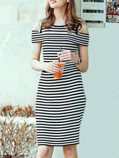 Round Neck  Striped Cold ShoulderT-Shirt And Knitting Sheath Skirt Suit - White And Black S