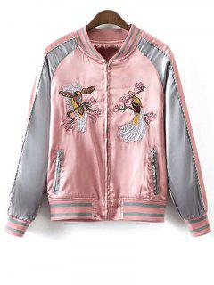 Glossy Embroidered Souvenir Jacket - Pink L