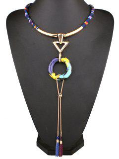 Triangle Circle Rope Necklace - Blue