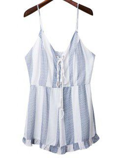 Striped Spaghetti Straps Lace Up Romper - Light Blue M