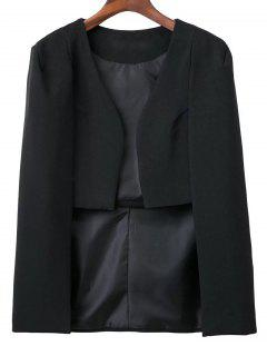 Solid Color Cape Blazer - Black S