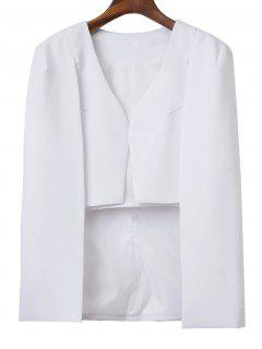 Solid Color Cape Blazer - White S
