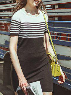 Round Neck Short Sleeve White And Black Striped Dress - White And Black S