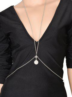 Silvery Coin Crossed Body Chain - Silver
