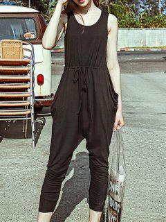 Scoop Neck Sleeveless Fitting Black Harem Jumpsuit - Black S