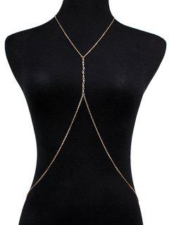 Faux Crystal Crossed Body Chain - Golden