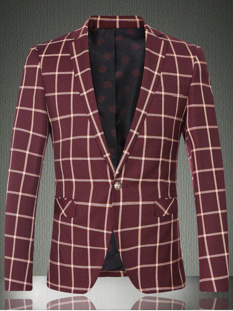 Karo-Revers-Langarm-Knopf-Entwurfs-Blazer für Männer - Weinrot M Mobile