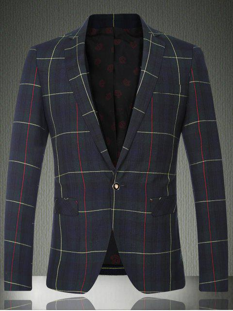 Tartan-Revers-Langarm-Knopf-Entwurfs-Blazer für Männer - Kariert M Mobile