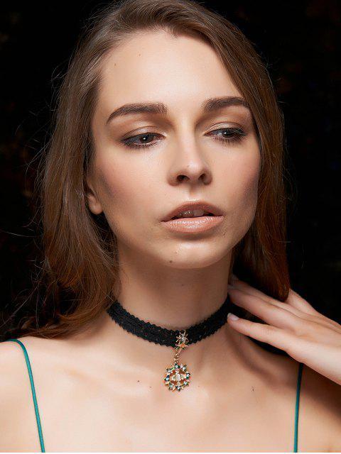 Diamantes de imitación collar de Sun Gargantillas Negro - Negro  Mobile