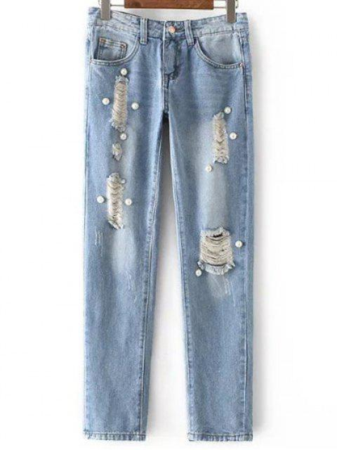 affordable Beading Mid Waisted Ripped Jeans - LIGHT BLUE L Mobile