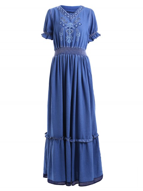 fancy Denim Bohemian V Neck Short Sleeve Maxi Dress - BLUE S Mobile