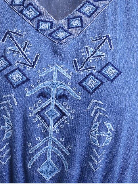 Robe maxi en denim style bohémien col V manches courtes - Bleu L Mobile