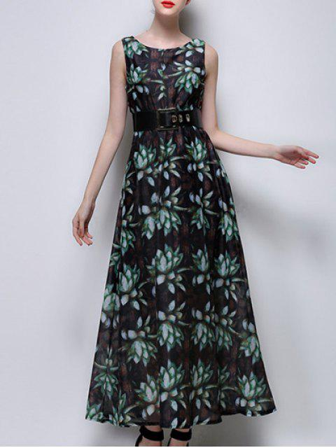 shop Floral Print Maxi Chiffon Dress - GREEN M Mobile