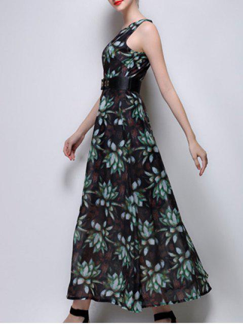 shop Floral Print Maxi Chiffon Dress - GREEN M Mobile