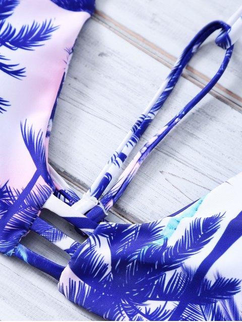 best Coconut Palm Strappy Bikini Set - PURPLE XL Mobile