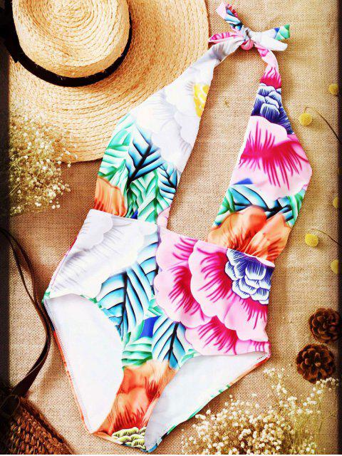 outfit Cut Out Printed Halter One-Piece Swimwear - PINK XL Mobile