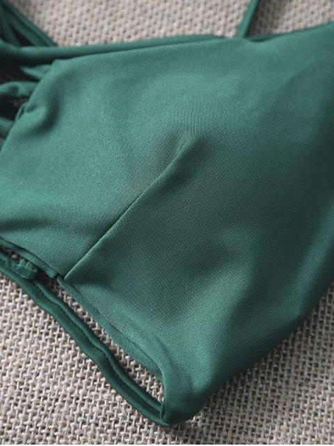 affordable Spaghetti Straps Hollow Out Strappy Bikini Set - GREEN S Mobile