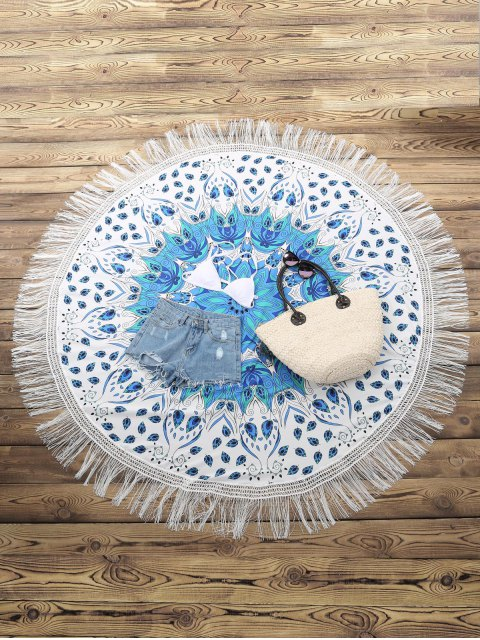 shop Fringed Round Beach Throw - WHITE ONE SIZE(FIT SIZE XS TO M) Mobile