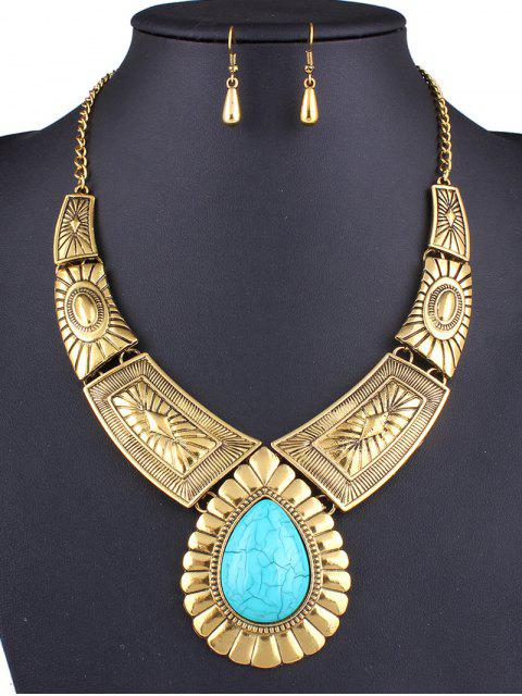 new Faux Turquoise Teardrop Necklace and Earrings -   Mobile