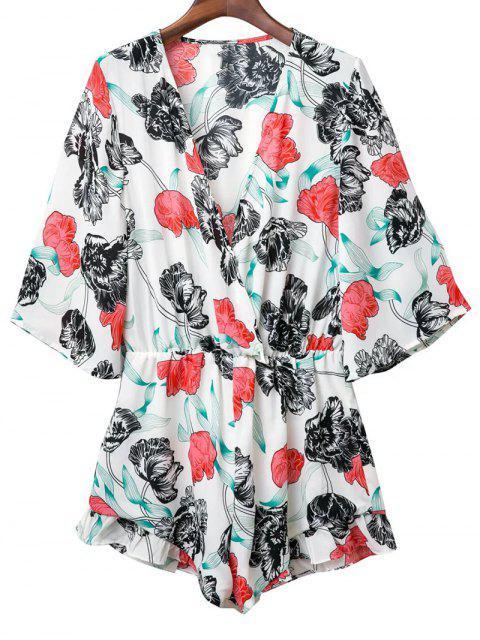 shops Plunge Kimono Floral Romper - WHITE M Mobile