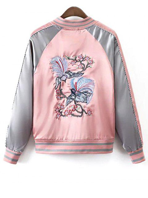 buy Glossy Embroidered Souvenir Jacket - PINK L Mobile