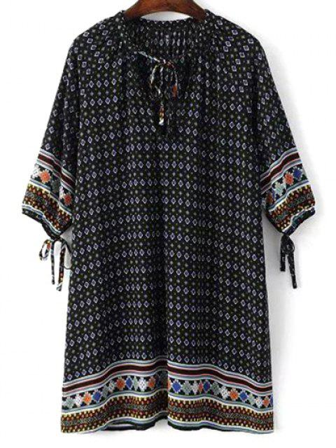 shops Tie Neck Printed Tunic Dress - BLACK M Mobile