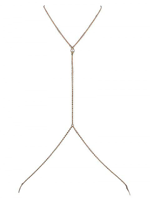 unique Faux Pearl Crossed Body Chain - GOLDEN  Mobile