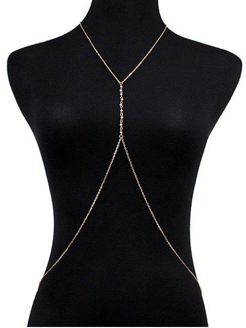 sale Faux Crystal Crossed Body Chain - GOLDEN  Mobile