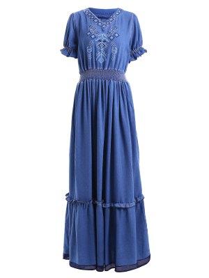 Denim Bohemian V Neck Short Sleeve Maxi Dress