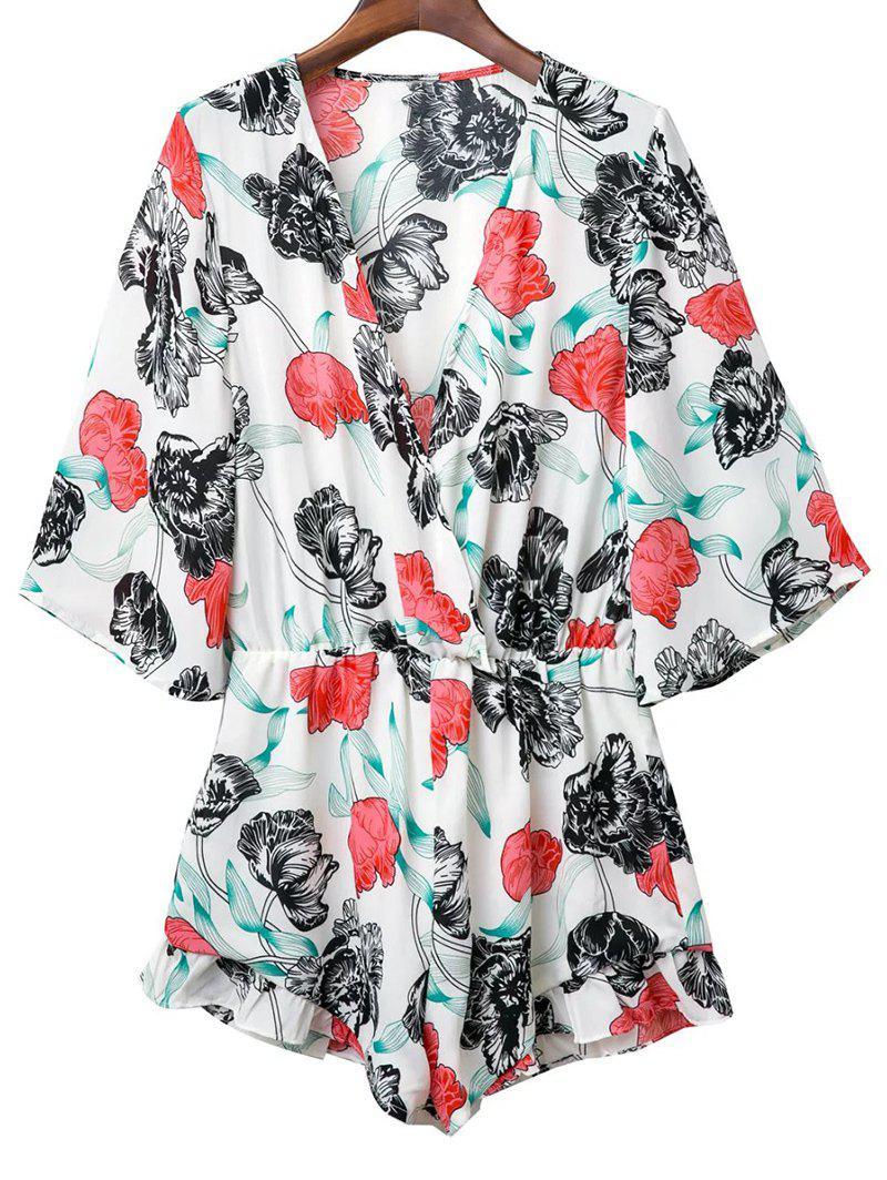 Plunge Kimono Floral Romper 188085402