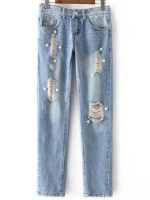 Rebordear Cintura Alta Pantalones Vaqueros Rasgados - Azul Claro L
