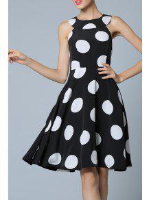 فستان ملائم وتوهج البولكا نقطة - أسود M