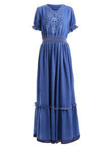 الدنيم البوهيمي الخامس الرقبة قصيرة الأكمام فستان ماكسي - أزرق Xl