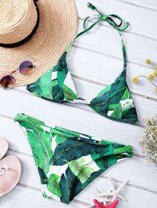 Feuille Imprimé Halter Bikini Set - Vert L