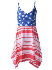 Americana Flag Printing Spaghetti Strap Asymmetric Patriotic Dress - Red And White And Blue S