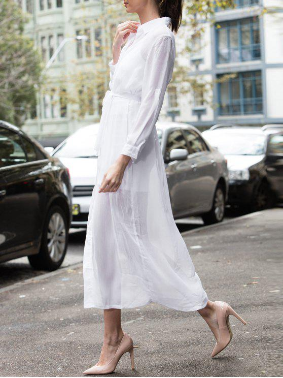 shop White Turn Down Collar Long Sleeve Maxi Dress - WHITE ONE SIZE