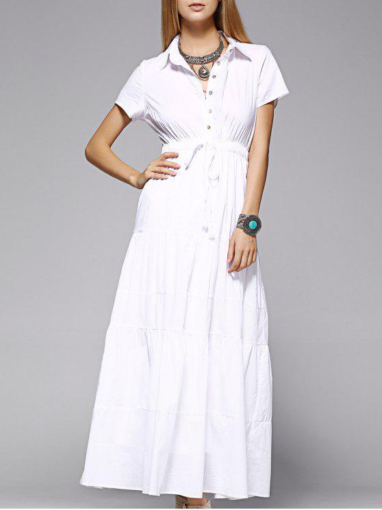 ماكسي اللباس القميص - أبيض L