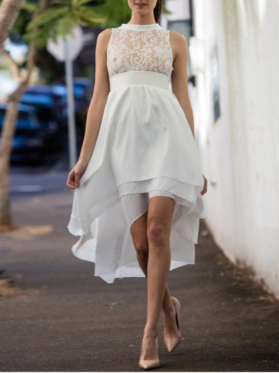 Vestido de Fiesta de Graduación sin Manga con Fladas Altas Bajas - Blanco S