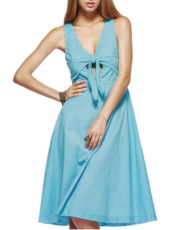 Vestido a media pierna con nudos - Azul L