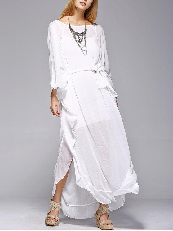 latest Ruffles See-Through Dress - WHITE L