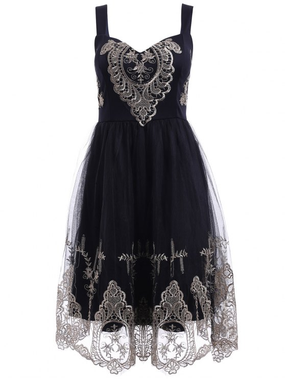 buy Elegant Straps Golden Lace Floral Embellished Dress For Women - BLACK XL