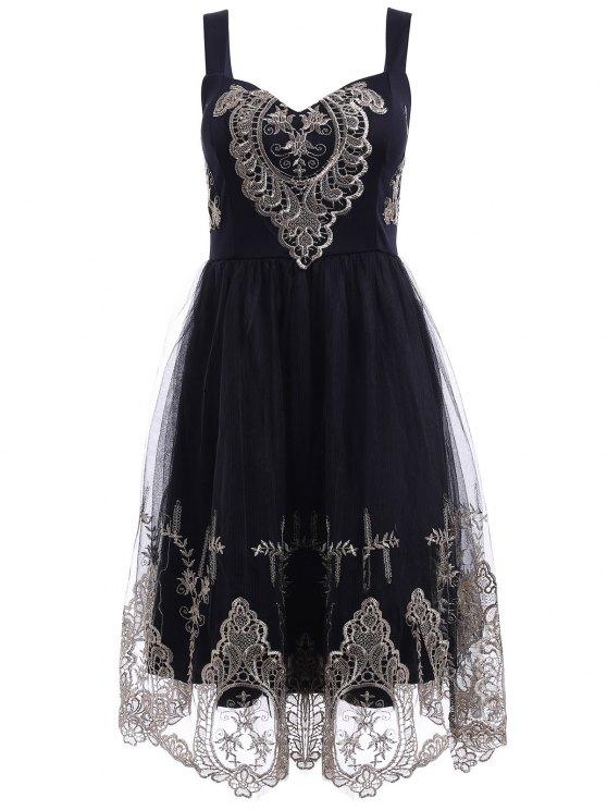 women Elegant Straps Golden Lace Floral Embellished Dress For Women - BLACK M