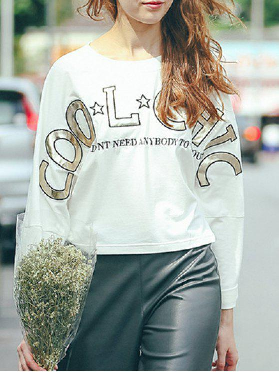 shops Round Neck Long Sleeve High-Low Printed T-Shirt - WHITE M