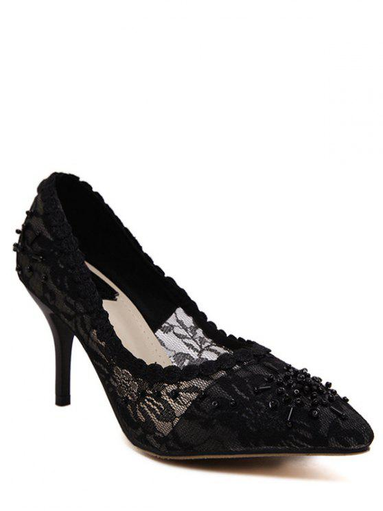 women Lace Pointed Toe Black Pumps - BLACK 39
