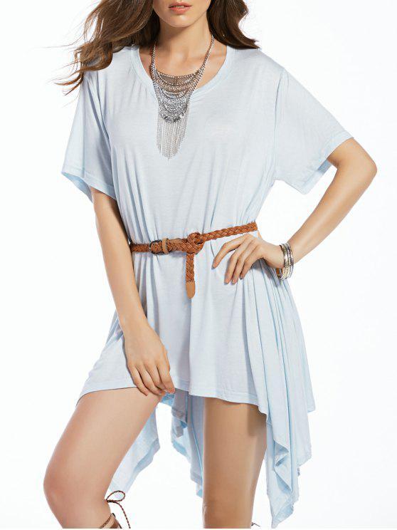 hot Bawting Sleeve Irregular Dress - BLUE S