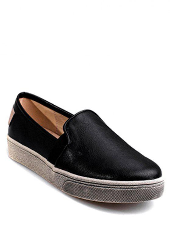 affordable Round Toe PU Leather Flat Shoes - BLACK 38